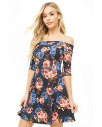 9e8c19215dd6 Forever 21 - Floral Off-the-shoulder Fit   Flare Dress - Lyst