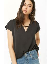 001b9074f55 Forever 21 Ribbed Snap-button Crop Top in Black - Lyst