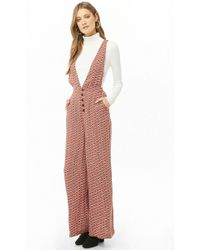 0728e7092e9 Forever 21 - Women s Geo Print Pinafore Jumpsuit - Lyst