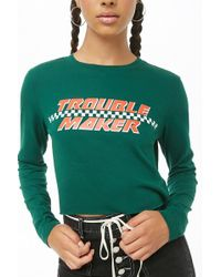 Forever 21 - Trouble Maker Graphic Tee , Green/orange - Lyst