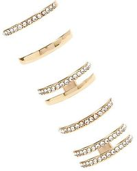 Forever 21 Rhinestone Ring Set , Gold/clear - Metallic