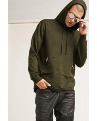 Forever 21 - Distressed Zip-pocket Hoodie - Lyst