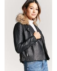Forever 21 - Faux Fur-collar Moto Jacket - Lyst