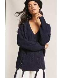 FOREVER21 - Cable-knit Lace-up Sweater - Lyst
