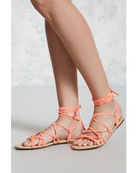 07edd3458918 Lyst - Forever 21 Faux Leather T-strap Sandals in Natural