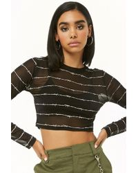 Forever 21 - Sheer Barbed Wire Print Crop Top - Lyst