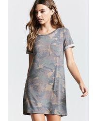 f1da2e5640 Forever 21 Camo Overall Dress in Brown - Lyst