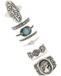 Forever 21 - Burnished Boho Stackable Ring Set - Lyst