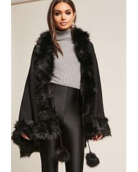 Forever 21 - Pia Rossini Faux Fur-trimmed Poncho - Lyst