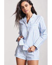 Forever 21 - Stripe Pajama Shirt & Shorts Set - Lyst