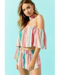 Forever 21 - Striped Crop Top & Shorts Set - Lyst