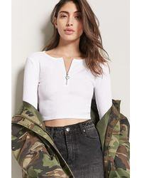 Forever 21 - Ribbed Pull-ring Crop Top - Lyst