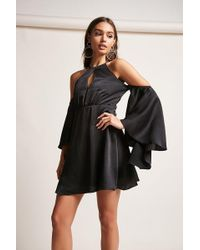 Forever 21 - Satin Open-shoulder Dress - Lyst