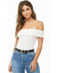 Forever 21 - Smocked Off-the-shoulder Bodysuit - Lyst