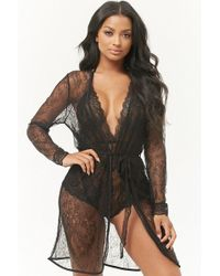 Forever 21 - Scalloped Lace Robe - Lyst