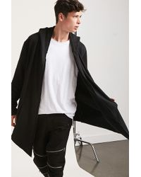 Forever 21 - Hooded Open-front Longline Cardigan - Lyst