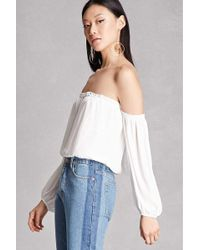 3feea519d96241 Lyst - Forever 21 Lush One-shoulder Lace Top in White