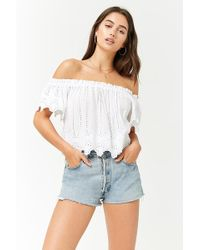 2c7d0ab7b5cb4e Forever 21 - Women's Off-the-shoulder Eyelet Crop Top - Lyst