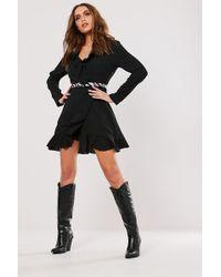 Missguided - Ruffle Trim Mini Dress At , Black - Lyst