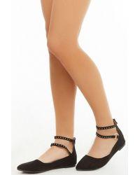 f57a58c43c95 Forever 21 - Studded-strap Ballet Flats , Black - Lyst