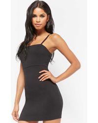 6356d15841e Forever 21 Satin Overall Dress in Black - Lyst
