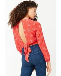 Forever 21 - Speckle Print Tie-back Crop Top - Lyst