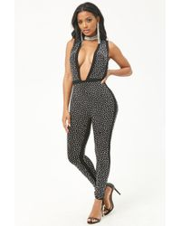 Forever 21 - Plunging Studded Jumpsuit - Lyst