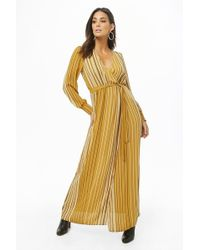 cf15c94fc28 Forever 21 - Women s Striped Surplice Maxi Dress - Lyst