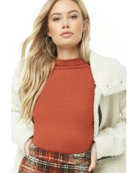 866a0e59f31ed Lyst - Forever 21 Waffle Knit Mock Neck Top in Natural
