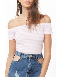 7a72d53042e1d3 Lyst - Forever 21 Scalloped Off-the-shoulder Top in White