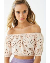 efd6ac7dee5 Forever 21 - Women's Eyelet Lace Off-the-shoulder Top - Lyst