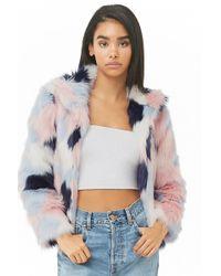 Forever 21 - Colorblock Faux Fur Coat - Lyst