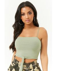 Forever 21 - Ribbed Tie-front Cropped Cami - Lyst