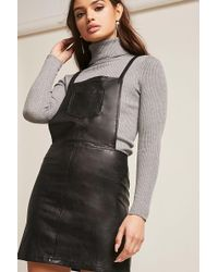Forever 21 | Faux Leather Overall Dress | Lyst