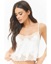 Forever 21 - Women's Satin Lace-trim Cropped Camisole Top - Lyst