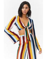 Forever 21 - Striped Long Sleeve Knotted Crop Top - Lyst