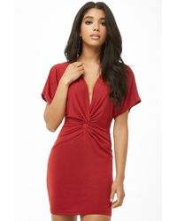 Forever 21 - Women's Twist-front Plunging Mini Dress - Lyst