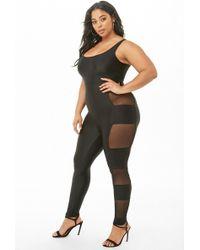 234be553b046 Forever 21 - Women s Sheer Mesh-trim Jumpsuit - Lyst