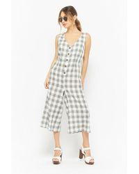 a015c235a6c5 Forever 21 - Plaid Button-front Culotte Jumpsuit - Lyst