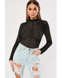 Missguided - Shadow-striped Bodysuit At - Lyst