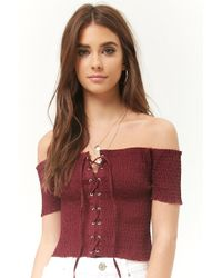 2e01abee905119 Forever 21 - Smocked Off-the-shoulder Lace-up Crop Top - Lyst