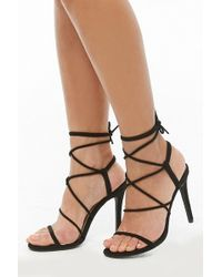 b8901eb086 Forever 21 Faux Suede Strappy Sandals in Black - Lyst