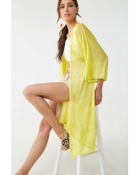 Forever 21 - Open-front Longline Cardigan , Citron - Lyst
