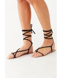 Forever 21 Lace-up Thong Sandals , Black