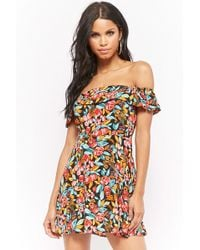 Forever 21 - Watercolor Floral Off-the-shoulder Skater Dress - Lyst