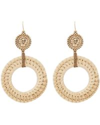 Forever 21 - Women's Wicker Drop Hoop Earrings - Lyst