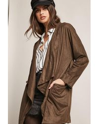 Forever 21 - Faux Suede Draped Cardigan - Lyst