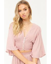f1dc656ae5e Lyst - Forever 21 Boho Me Bell-sleeve Crop Top in Black