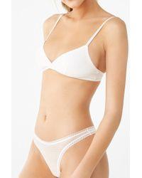 Forever 21 - Mesh Diamond Dot Thong Panty , White - Lyst