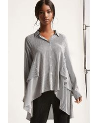 Forever 21 | High-low Pinstripe Shirt | Lyst